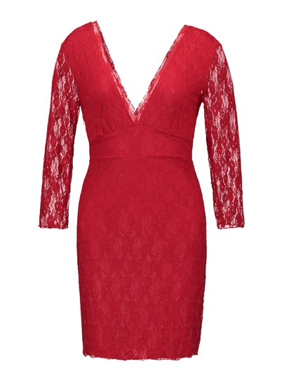 Red Long Sleeve V Neck Sheath Lace Dress