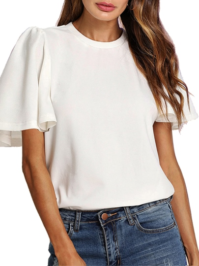 Puff Sleeve Solid Color Simple Women's T-Shirt
