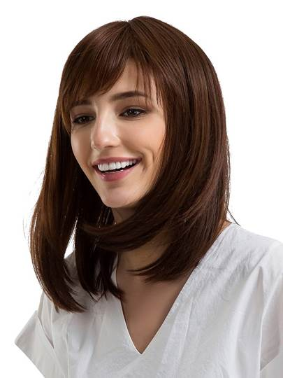 Natural Straight With Bangs Human Hair Capless Wig 14 Inches