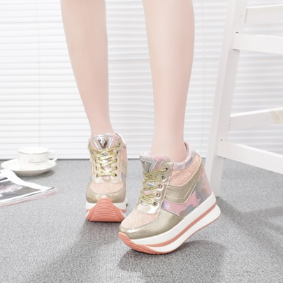 Camouflage Patchwork Sequin Platform Lace Up Women's Sneaker