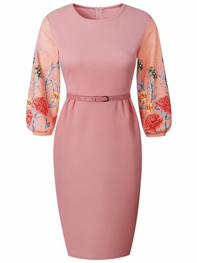 Pink Print Sleeve High Waist Back Zip Sheath Dress