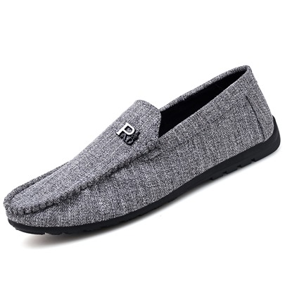 Cloth Stripe Slip-On Casual Men's Loafers