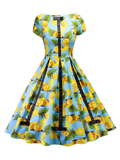 Light Blue Lemon Pattern Women's Day Dress