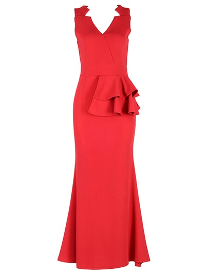 Red V Neck Falbala Sleeveless Elegant Maxi Dress