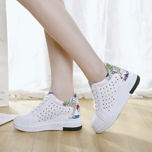 Hollow Cartoon Prints Casual Women's Sneaker