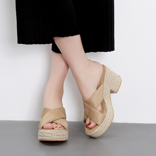 Espadrille Chunky Heel Cross Plain Women's Sandals