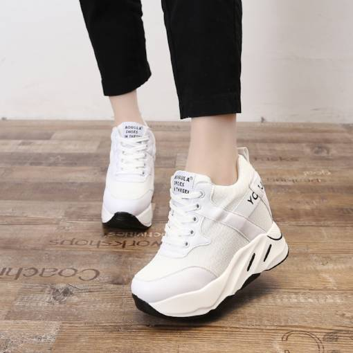 Hidden Elevator Heel Mesh Lace Up Casual Sneaker for Women