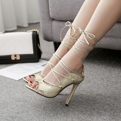 Lace Up Heels Ankle Strap Peep Toe Women's Sandals