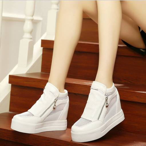 Zipper Hollow Mesh Breathable Plain Women's Sneaker