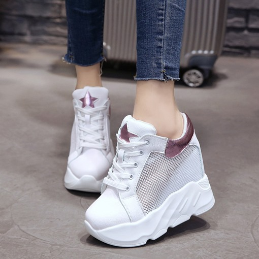 Hollow Platform Round Toe Strars Patchwork Summer Women's Sneaker