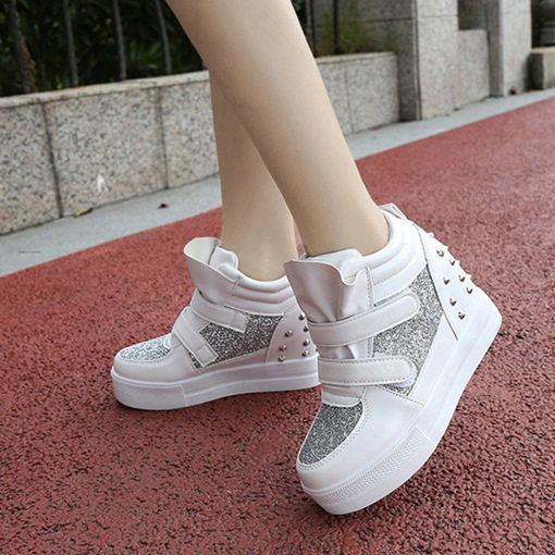 High-Cut Upper Rivet Sequin Platform Women's Sneaker