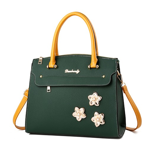 Modern Style Color Block Floral Soft Tote Bag
