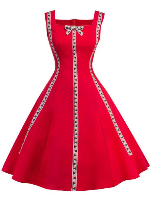 Red Square Neck Women's Day Dress