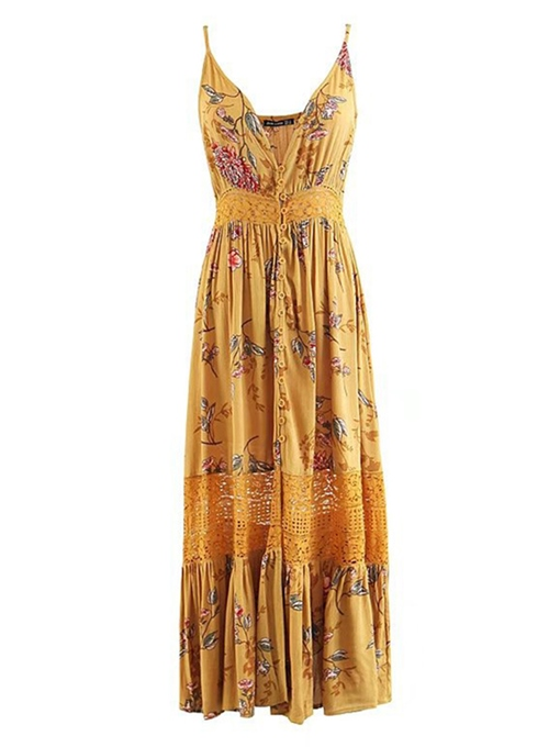 Yellow Hollow Strappy Women's Maxi Dress