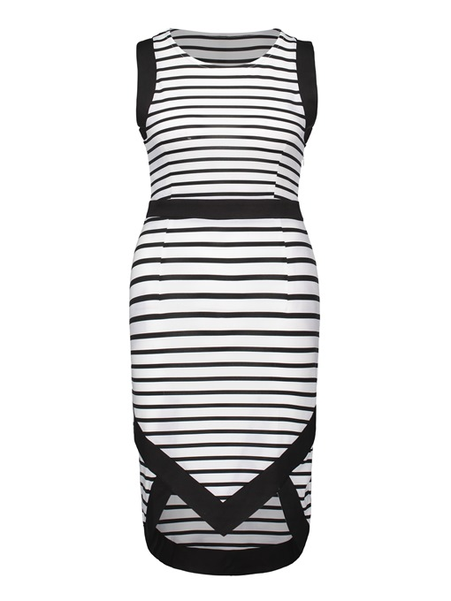 Striped Asym Women's Bodycon Dress