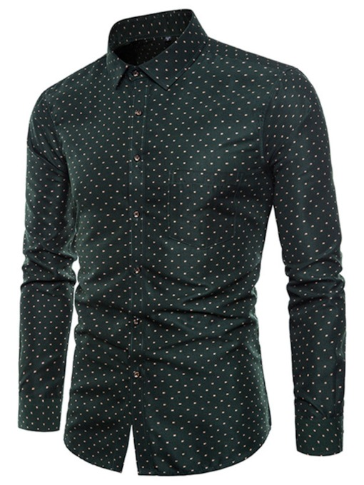 Polka Dots Solid Color Slim Men's Shirt