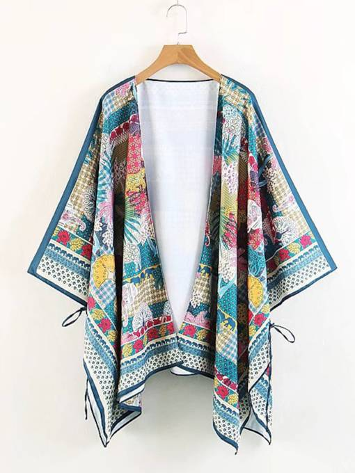 Plain Mixed Printed Open Front Women's Cape