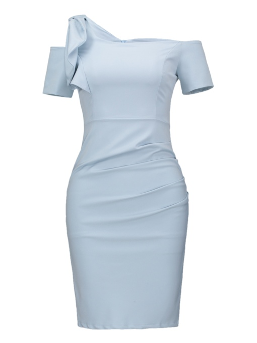 Blue One Shoulder Women's Sheath Dress