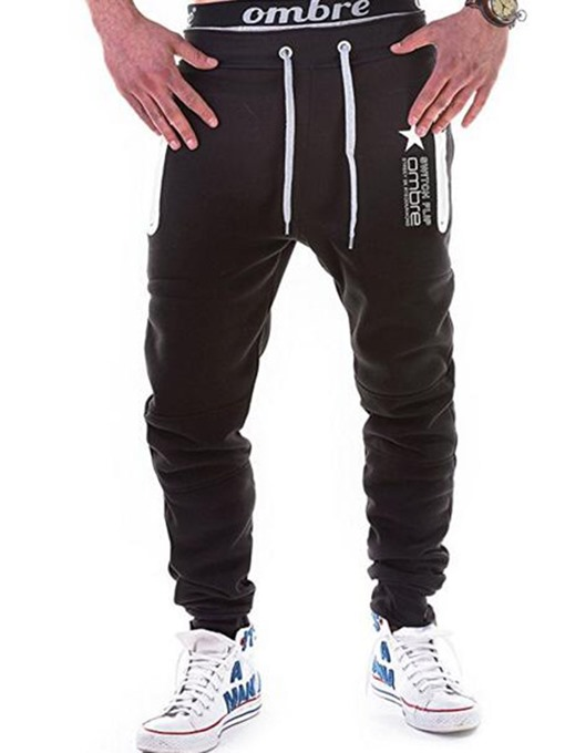 Lace-up Letter Print Slim Fit Men's Casual Pants