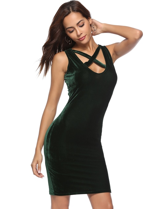 Summer Tie Neck Sleeveless Bodycon Party Dress