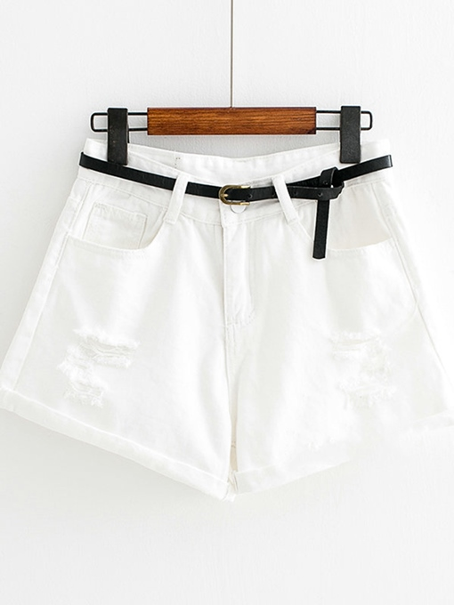 Plain Denim Ripped Women's Shorts