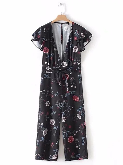 Floral Print Ruffle Lace-Up V Neck Women's Jumpsuit