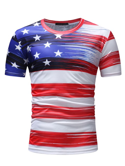 American Flag Print Thin Slim Men's T-Shirt