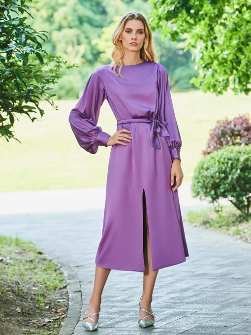 Long Sleeves Sashes Split-Front Tea-Length Evening Dress
