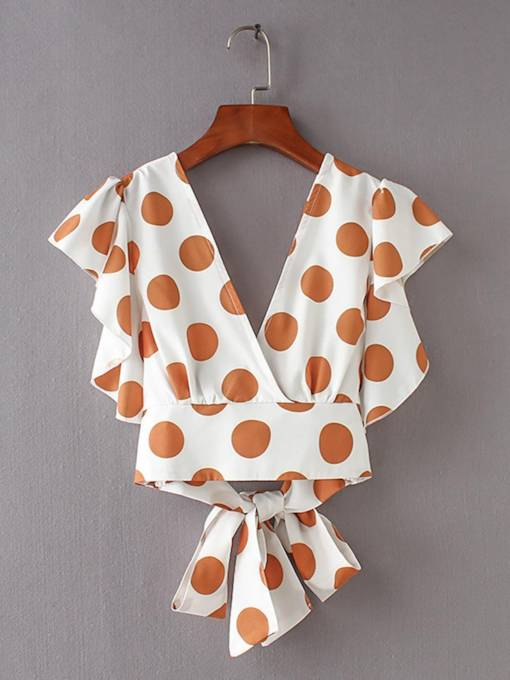 Ruffle Polka Dot Tie Back Side Women's Blouse