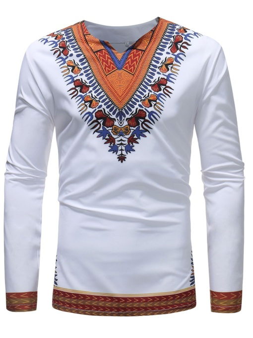 Dashiki African V-Neck Slim Men's T-Shirt