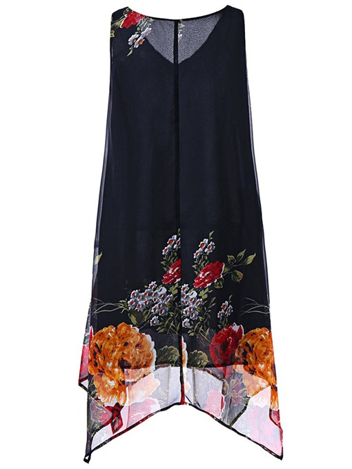 Chiffon Straight Printing Women's Day Dress