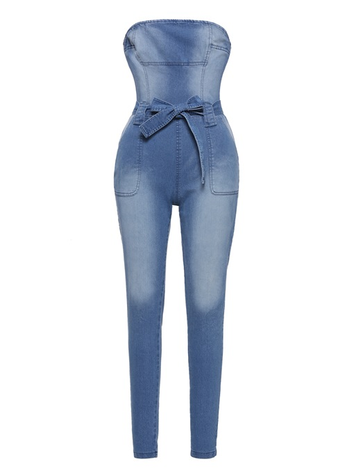 Denim Pocket Tube Lace-Up Women's Jumpsuit