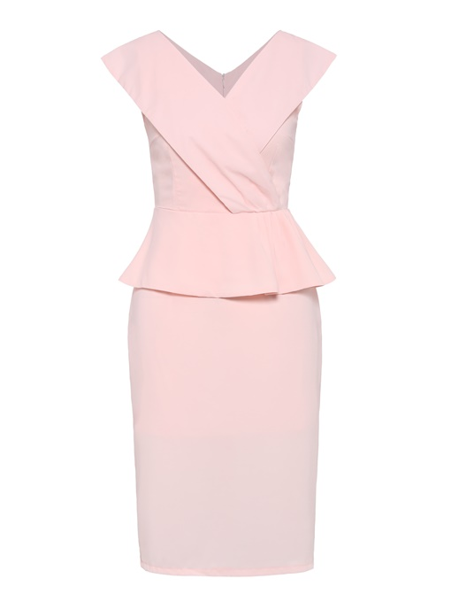 Pink V Neck Sleeveless High-Waist Sheath Dress
