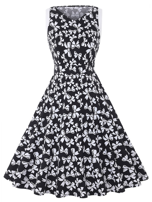 Black Sleeveless Floral Women's A-Line Dress