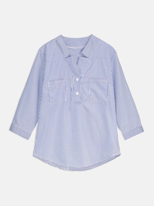 Pocket Detail Stripe Button Up Women's Blouse