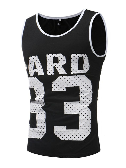 Number Print Thin Slim Men's Vest