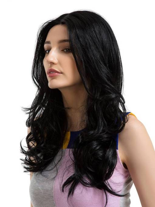 Big Curly Middle Parting Human Hair Women Capless Wig 24 Inches
