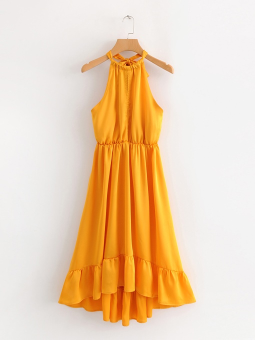 Yellow Halter Backless Women's Sexy Dress