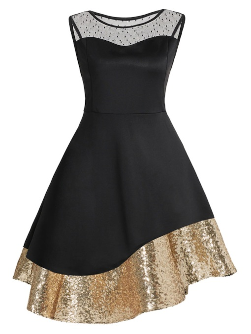Black Sequins Asym Women's Day Dress
