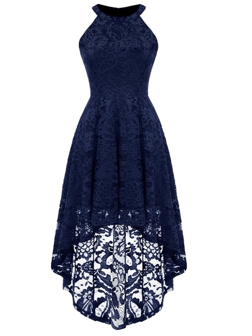 Back Zipper Sleeveless Asym Women's Lace Dress