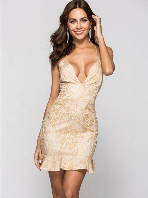 Strappy Sequins Women's Party Dress