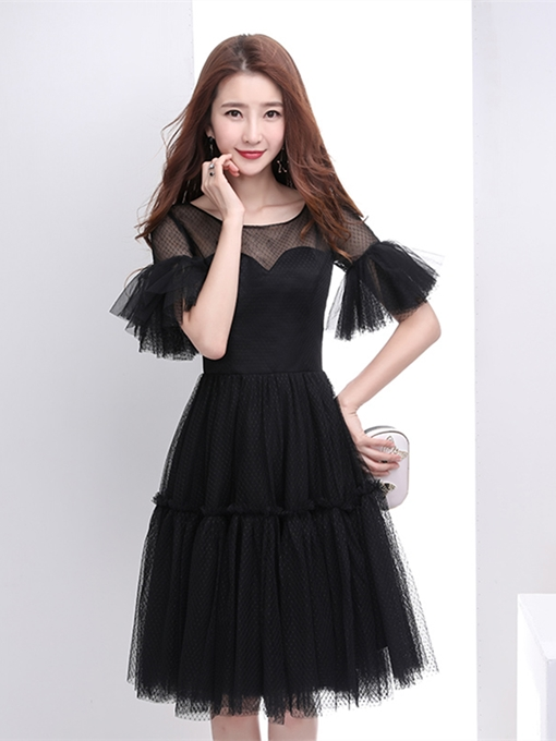 A-Line Scoop Trumpet Sleeves Homecoming Dress