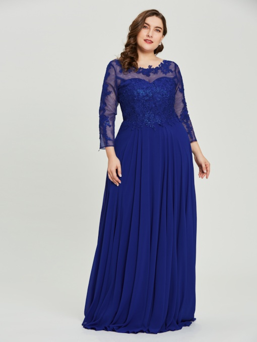 Long Sleeves Lace Appliques Plus Size Evening Dress