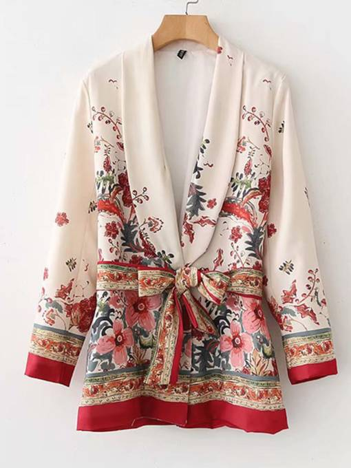 Lace-Up Notched Lapel Floral Women's Blazer