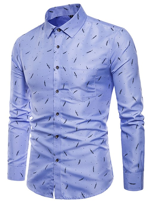 Lapel Print Slim Long Sleeve Men's Shirt