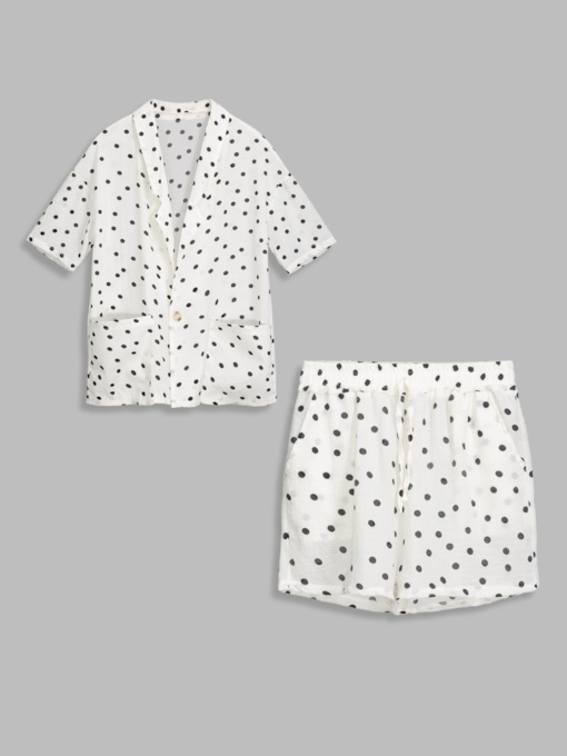 Polka Dots Print Short Women's Two Piece Set