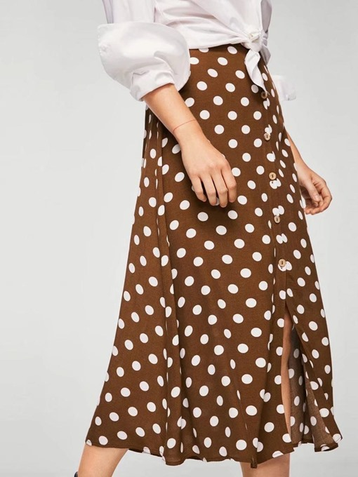 Polka Dots High Waist Women's Skirt