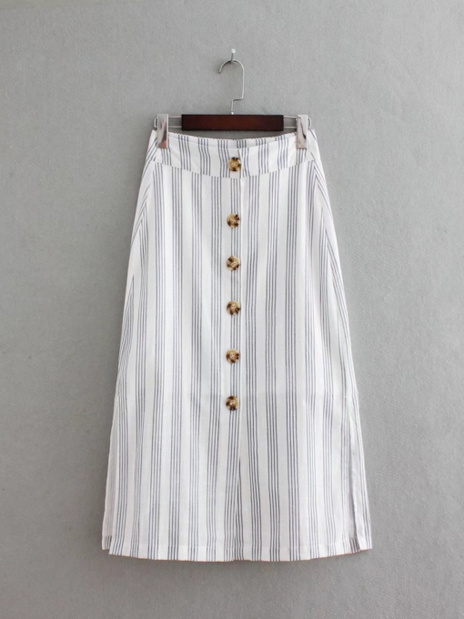 Stripe Button Split Women's Skirt