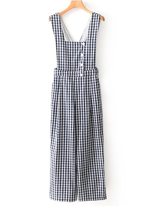 Gingham Square Neck Button Women's Jumpsuit