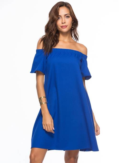 Blue Off-The-Shoulder Backless A-Line Day Dress